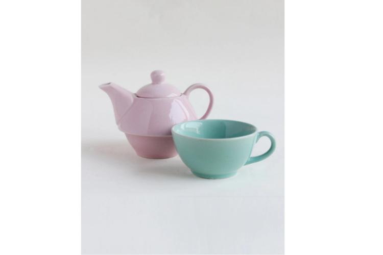 Mint_Pink Tea Pot with Cup - best teapots