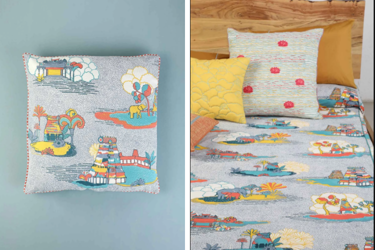 Temple Town Floor Cushion and Bedcover